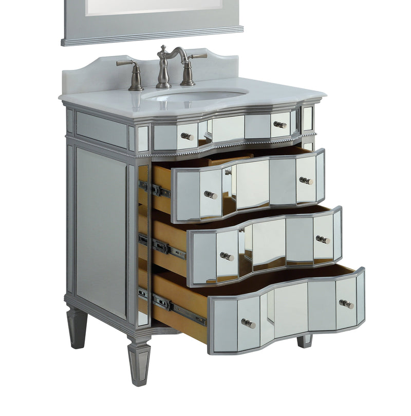 "36"" Benton Collection Ashley Mirrored Modern Bathroom Sink Vanity - BWV-25-36"