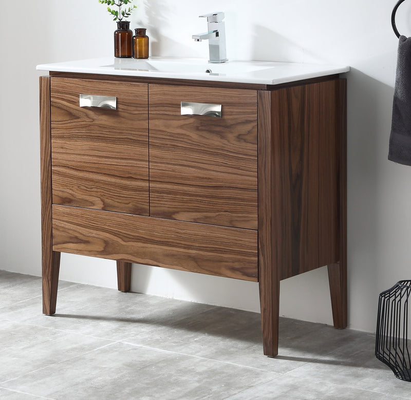 "36"" Tennant Brand Colle American Walnut Finish Bathroom Sink Vanity - CA-405NT36-ZI"