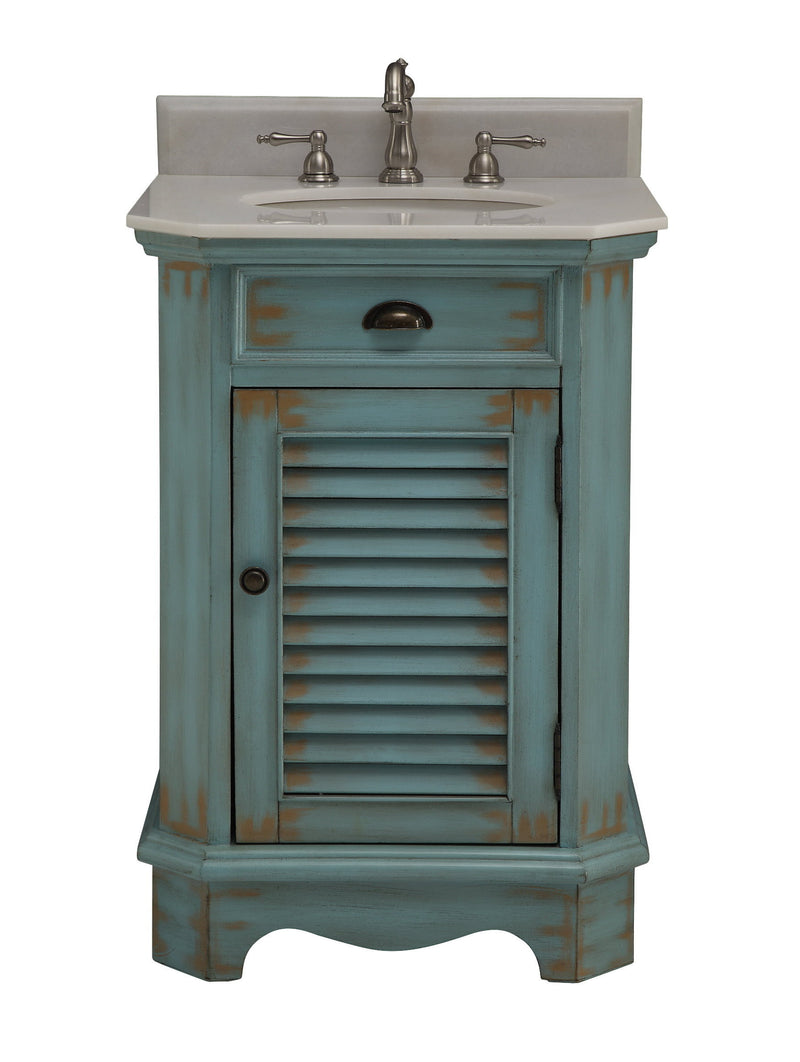 "24"" Distressed Blue Powder Room Abbeville Sink Vanity - CF-47523BU"