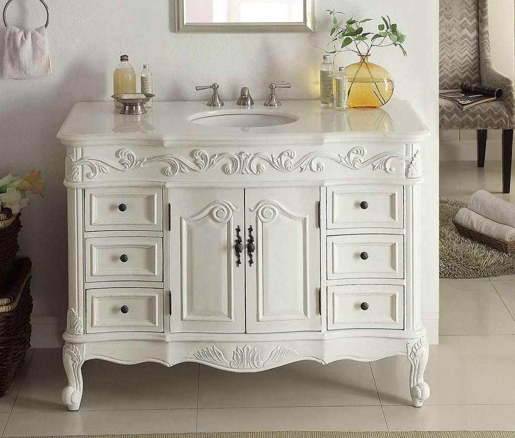 "48"" antique white beckham bathroom sink vanity sw-3882w-aw-48 