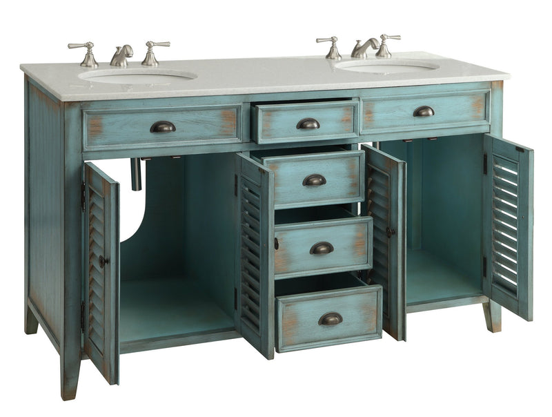 "60"" Distress Blue Shutter Blinds Abbeville double sink bathroom sink vanity"