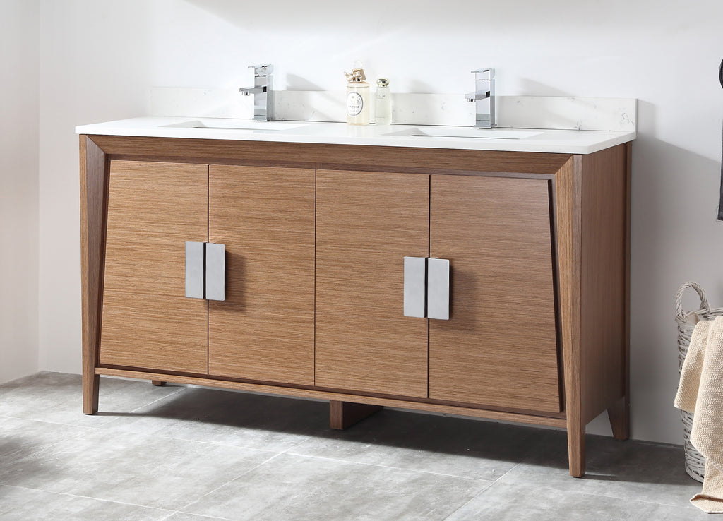 60 Larvotto Light Wheat Contemporary Double Sink Bathroom Vanity CL 22WV60 QT