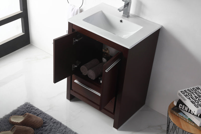 "24"" Tennant Brand Modern Style Vanity - Viara Bathroom Sink Vanity -  CL10-WE24-ZI  Espresso"