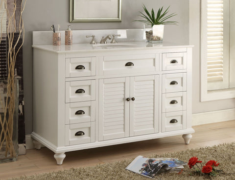 "49"" Cottage Style White Glennville Bathrrom Sink Vanity - model GD-28327W - Chans Furniture - 1"