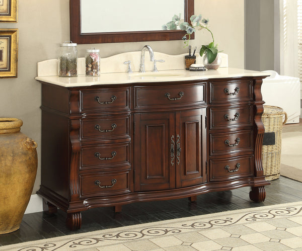 "60"" Spacious and Grand Solid Wood Hopkinton Bathroom Sink Vanity - GD-4437M-60"