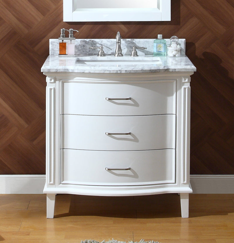 "34"" Benton Collection Italian Carrra Marble White Tigan Bathroom Sink Vanity with Mirror - GD-9733-MIR"