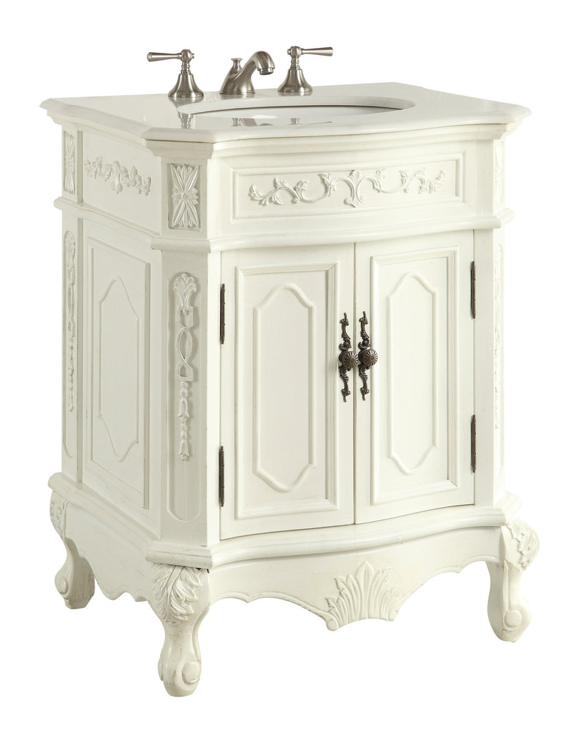 "27"" Antique white Spencer Bathroom Sink Vanity - CF-3305W-AW-27 - Chans Furniture - 3"