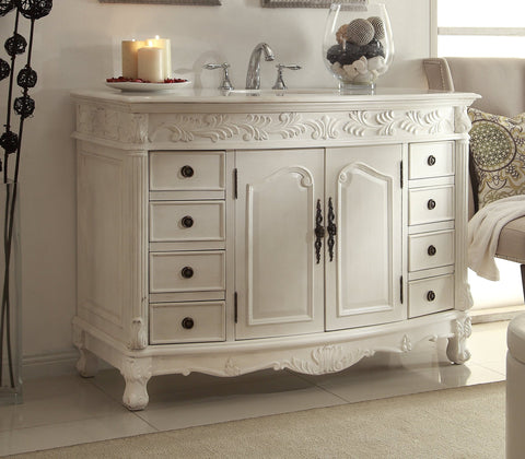 "48"" Classic Style Antique White Florence Bathroom Sink Vanity model # Q036W-AW - Chans Furniture - 1"