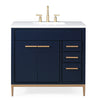 "36""  Italain Carrara Marble Top Beatrice Navy Blue Modern Bathroom Sink Vanity TB-9888NB-V36RA"