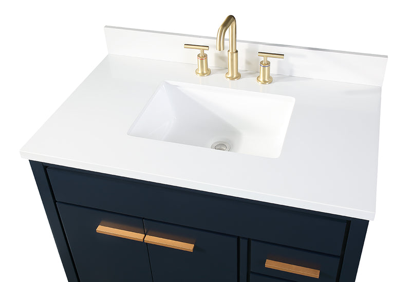 "36""  Italain Carrara Marbletop Beatrice Navy Blue Modern Bathroom Sink Vanity - TB-9888NB-V36RA"