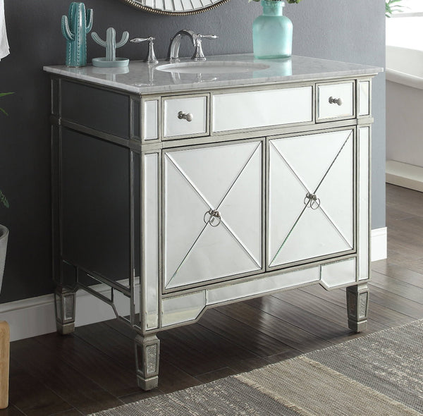 "36"" Carrara marble Mirror reflection Ashlyn Bathroom Sink Vanity # YR-023RA-36 - Chans Furniture - 1"