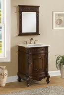 "24"" Classic Petite Powder Room Debellis Bathroom Sink Vanity & Mirror Set Model"