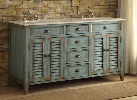 "60"" Distress Blue Shutter Blinds Abbeville double sink bathroom sink vanity # CF-88323-60BU - Chans Furniture - 3"