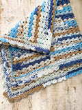 Handmade Crochet Pram Blanket Blues and Browns