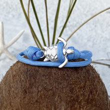 Load image into Gallery viewer, Blue Rope Silver Sea Turtle Bracelet