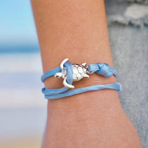Blue Rope Silver Sea Turtle Bracelet