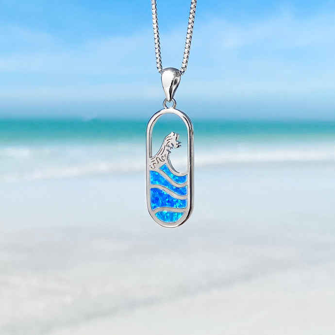 Blue Opal Wave Gate Necklace