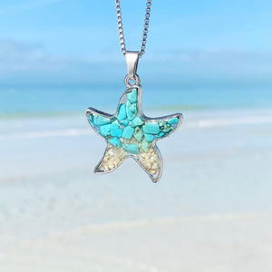 Teal Turquoise Sand Starfish Necklace