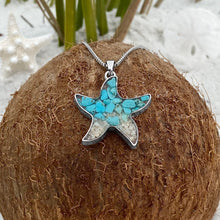 Load image into Gallery viewer, Teal Turquoise Sand Starfish Necklace