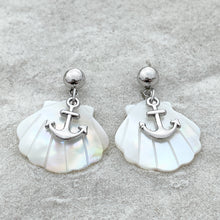 Load image into Gallery viewer, Anchor Mother of Pearl Earrings