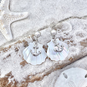 Anchor Mother of Pearl Earrings