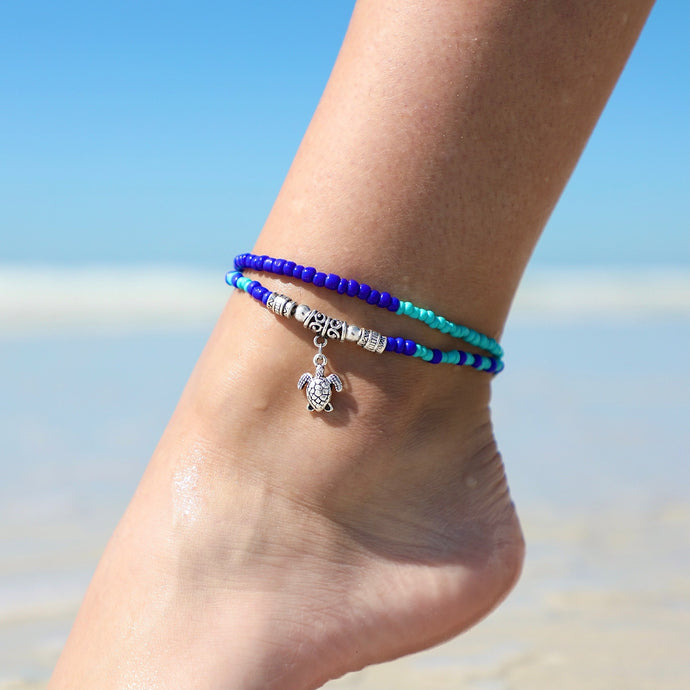 Sea Turtle Boho Bead Anklet