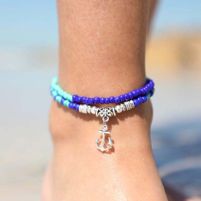 Anchor Boho Bead Anklet
