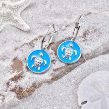 Load image into Gallery viewer, Enamel Sea Turtle Earrings