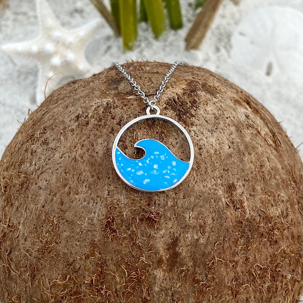 Enamel Blue Wave Necklace