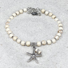 Load image into Gallery viewer, Ivory Turquoise Starfish Anklet