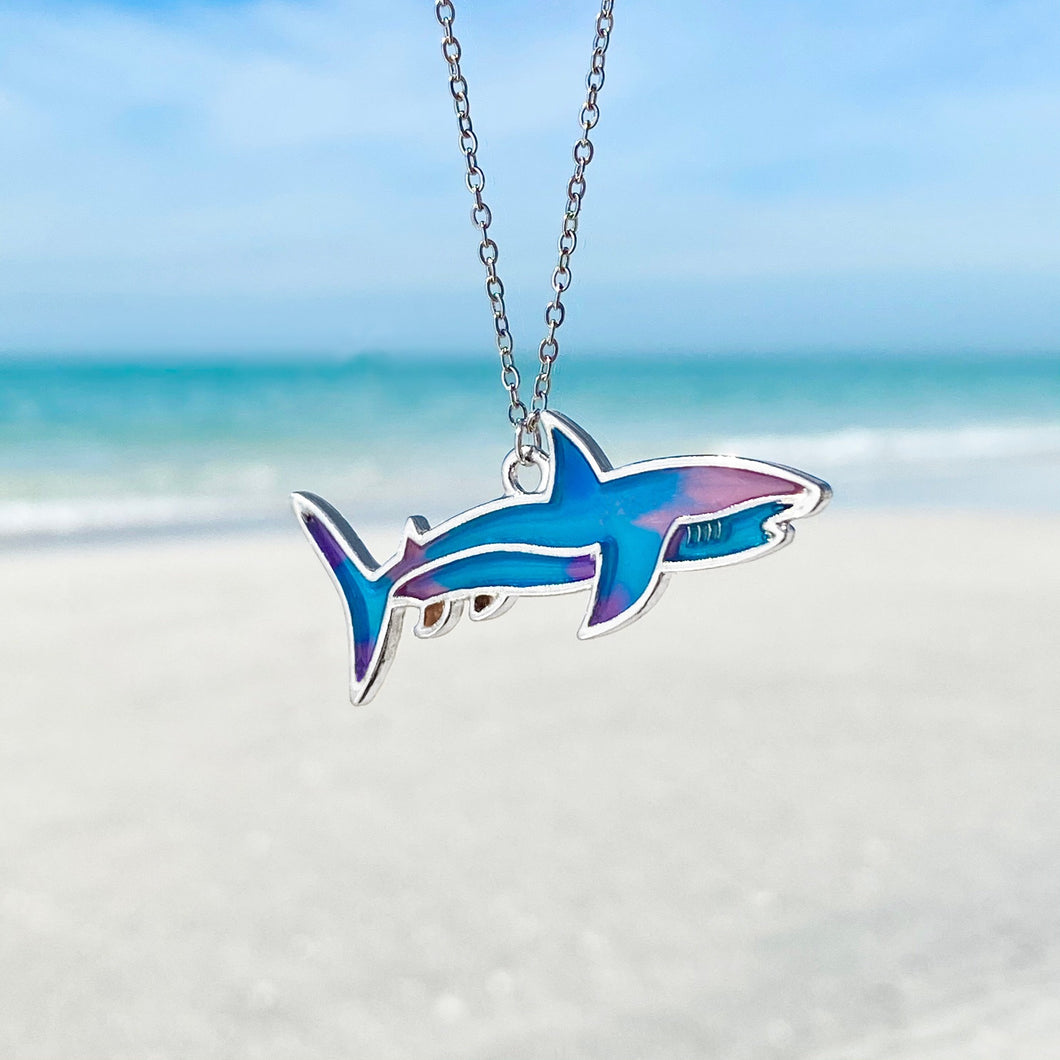 Colorful Enamel Shark Necklace