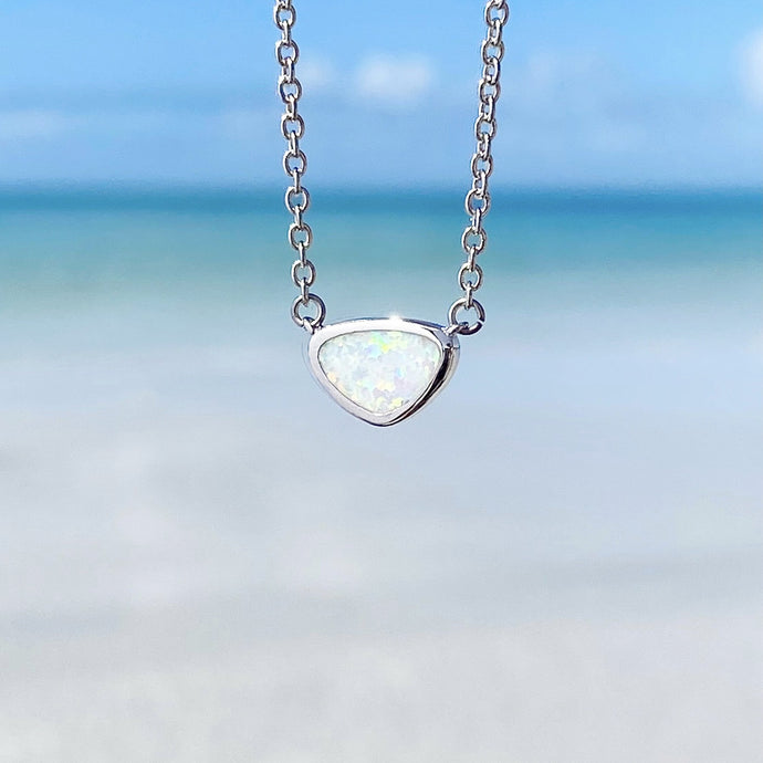 Window into the Ocean White Opal Necklace