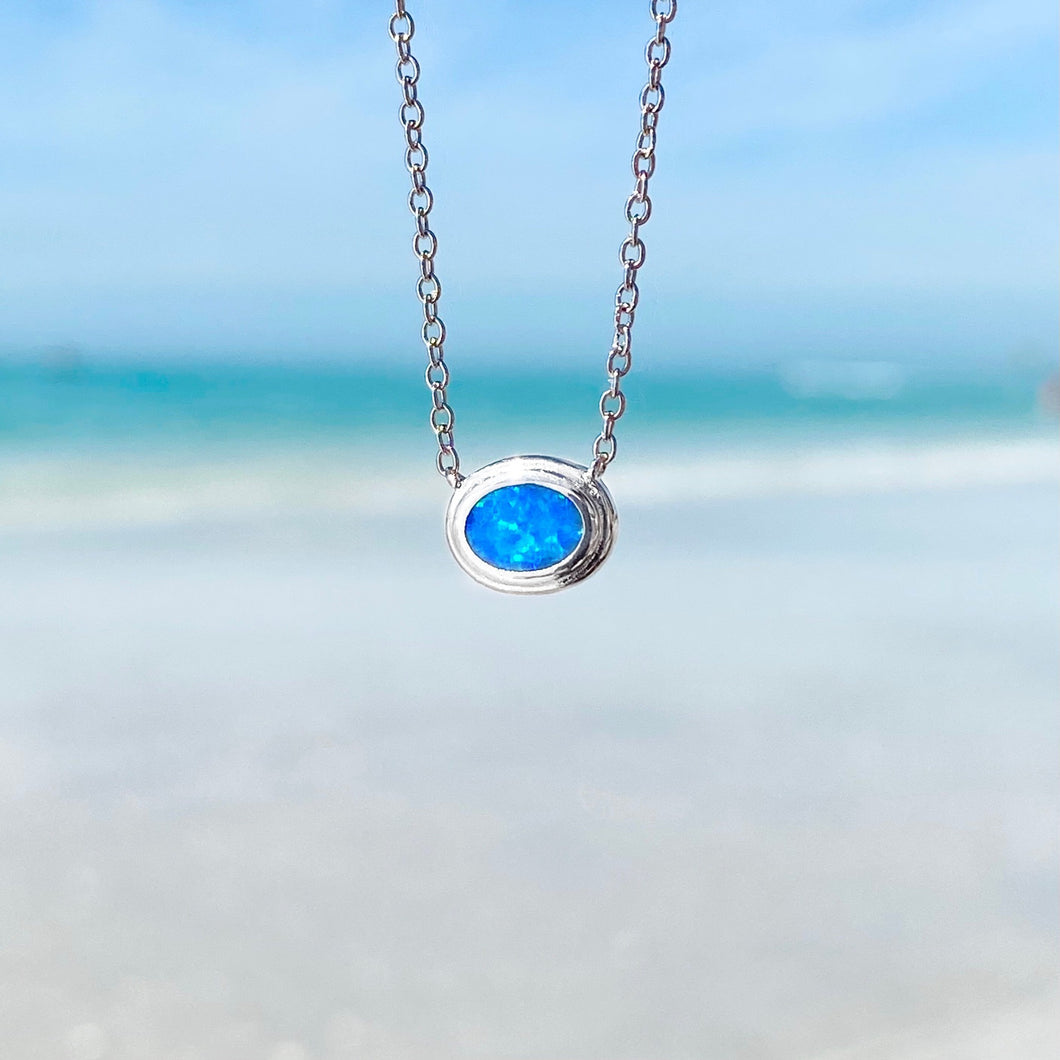 Eye into the Ocean White Opal Dainty Necklace
