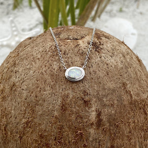 Eye into the Ocean Blue Opal Dainty Necklace