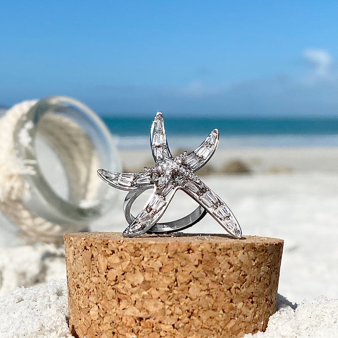 Starfish Cubic Zircon Ring