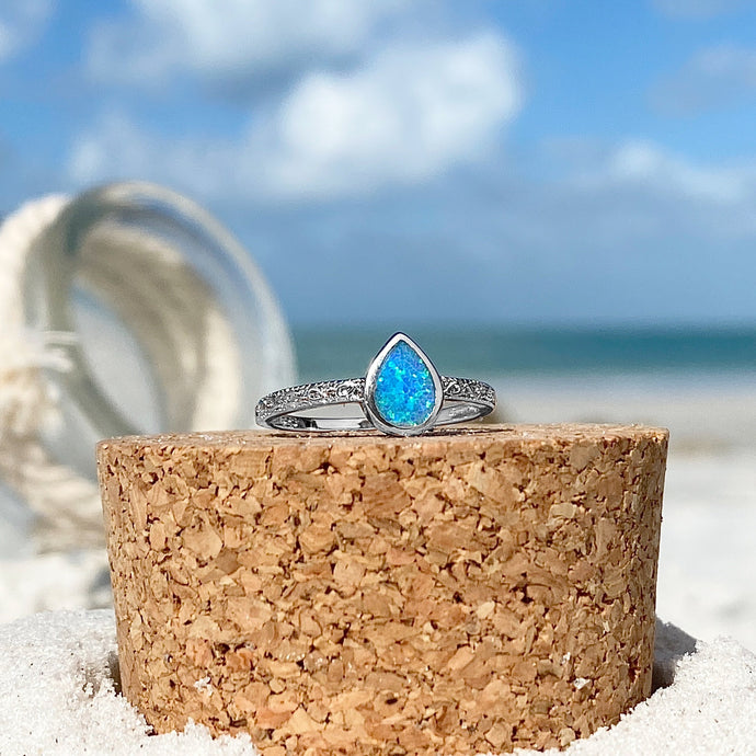 Ocean Blue Opal Drop Ring