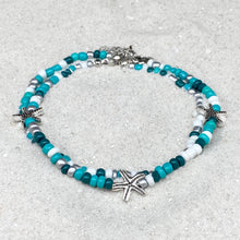 Load image into Gallery viewer, Starfish Green Mix Beads Anklet