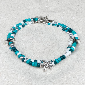Starfish Green Mix Beads Anklet
