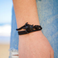 Load image into Gallery viewer, All Black Rope Sea Turtle Bracelet