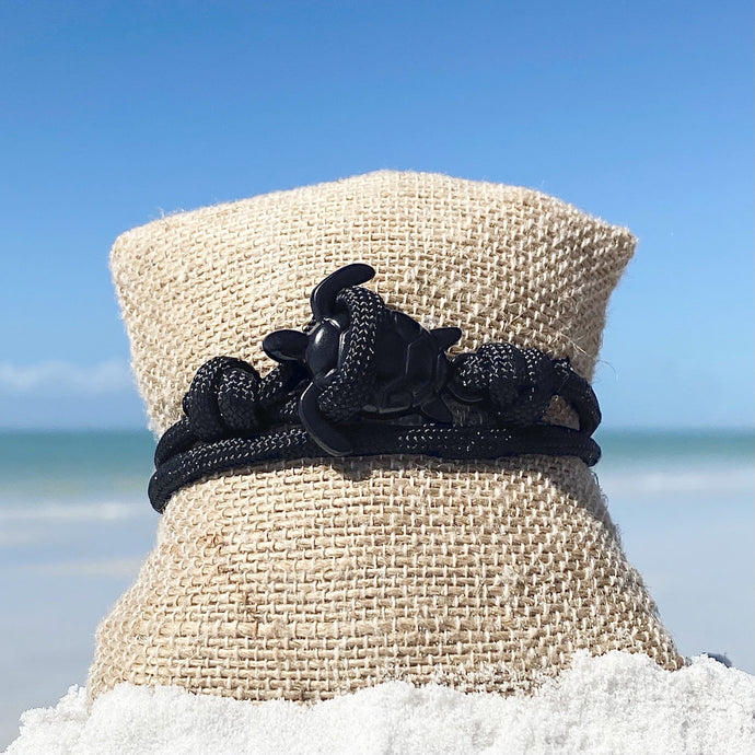All Black Rope Sea Turtle Bracelet