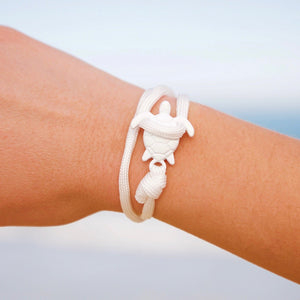 All White Rope Sea Turtle Bracelet