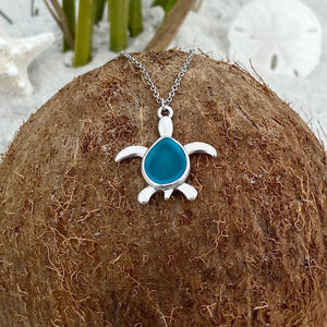 Sea Glass Sea Turtle Necklace - Sky Blue