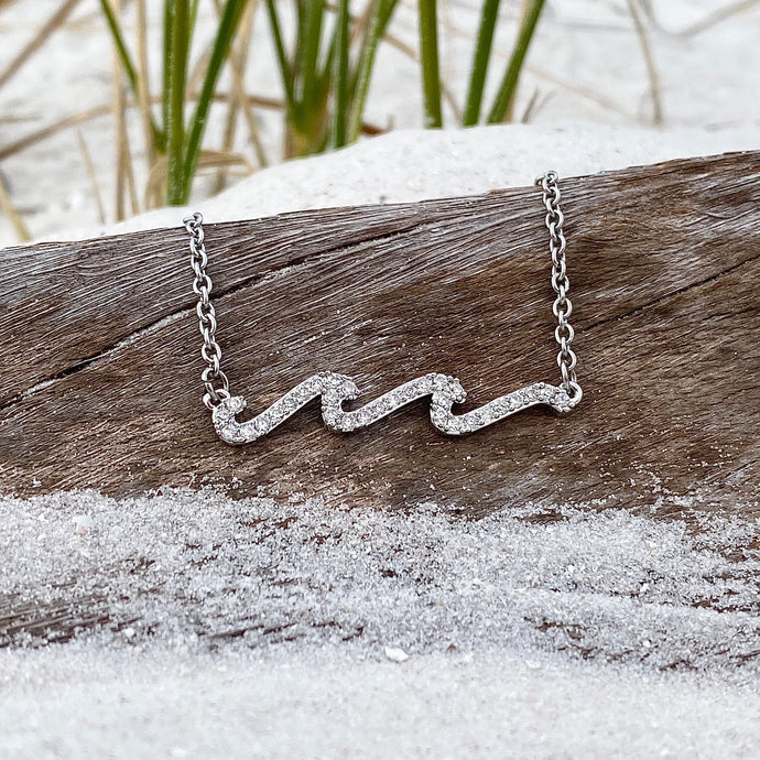 Relaxing Double Wave Zircon Necklace