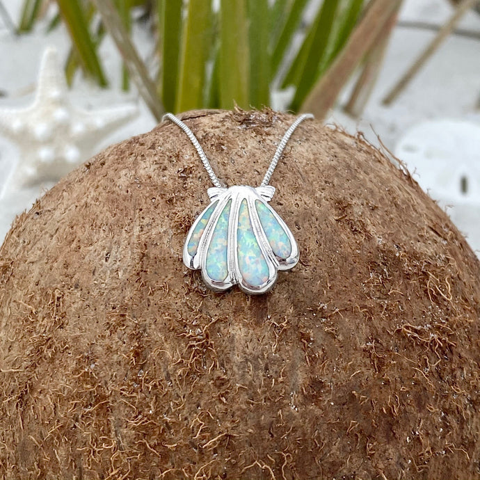 White Opal Classic Seashell Necklace