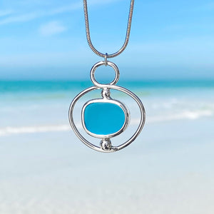 Abstract Circle Sea Glass Necklace