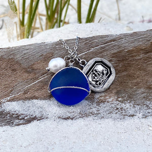 Sea Glass Wax Seal Charm Necklace - Voyage