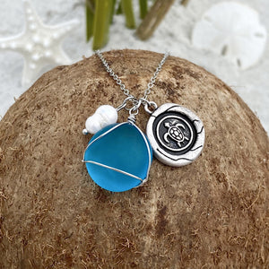 Sea Glass Wax Seal Charm Necklace - Sea Turtle