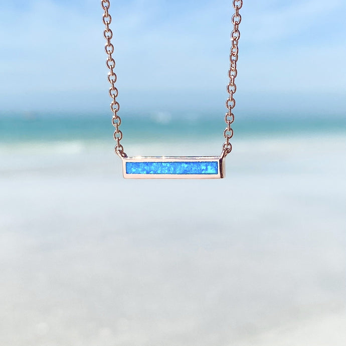 Blue Opal Classic Bar Necklace