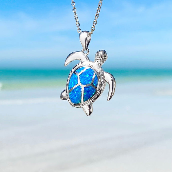 Blue Opal Classic Sea Turtle Necklace