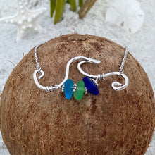 Load image into Gallery viewer, Stacked Sea Glass Wave Necklace